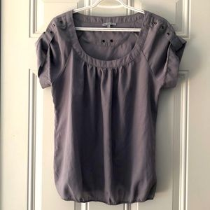Charlotte Russe Grey Short Sleeve Pleated Top M